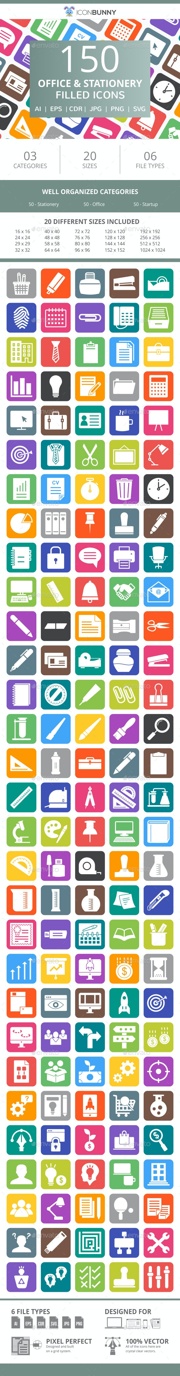 150 Office & Stationery Filled Round Corner Icons - Icons