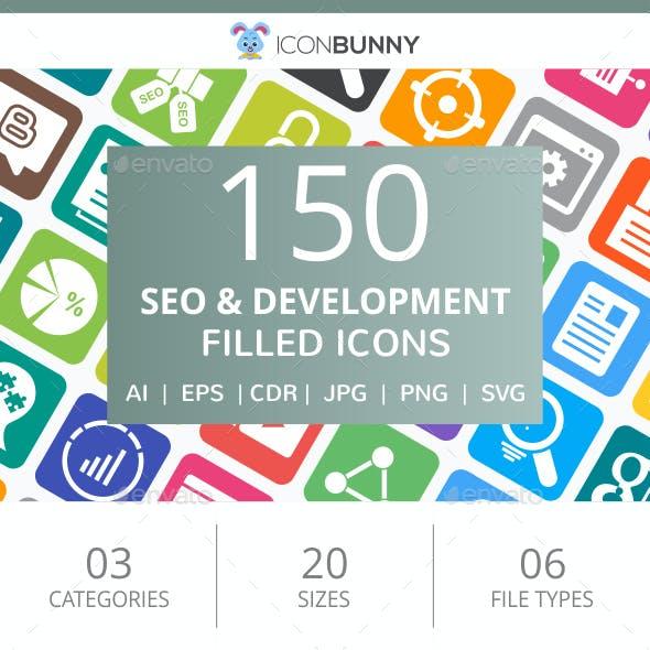150 SEO & Development Filled Round Corner Icons