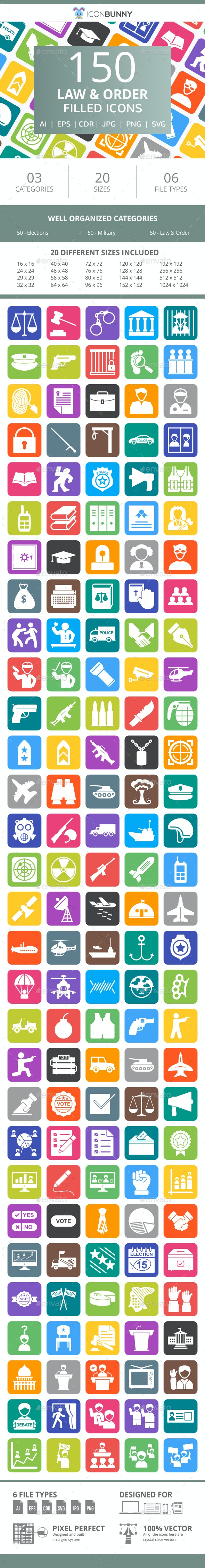 150 Law & Order Filled Round Corner Icons - Icons