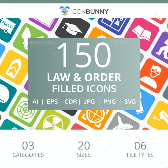 150 Law & Order Filled Round Corner Icons