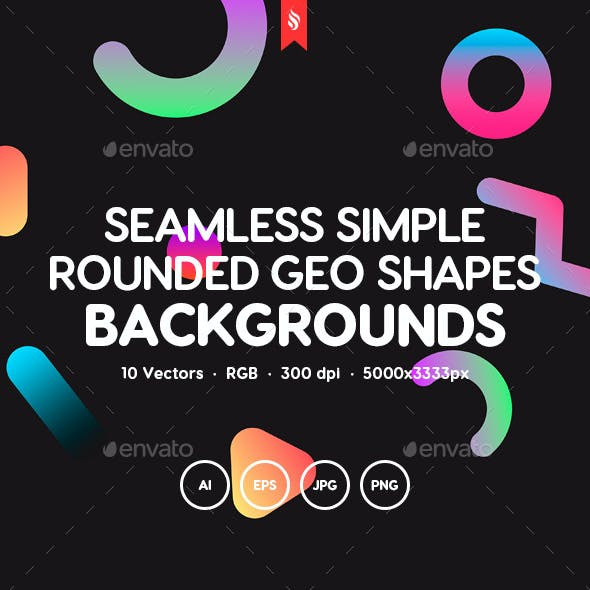 Rounded Geometric Shapes in Random Order Seamless Patterns