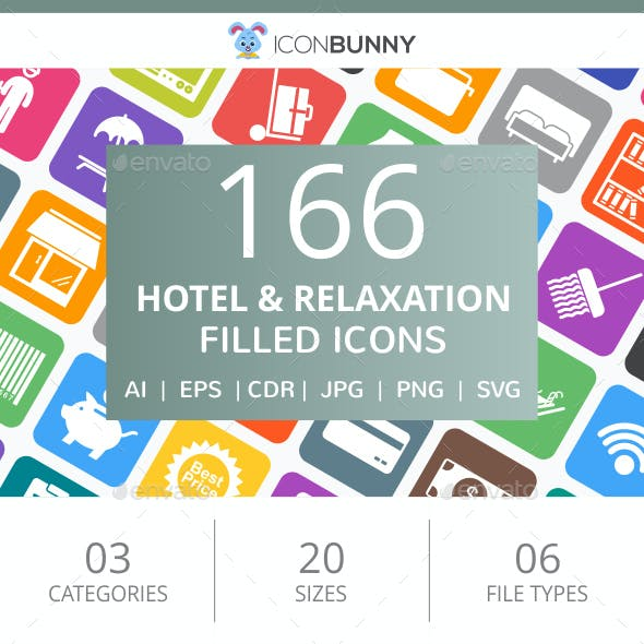 166 Hotel & Relaxation Filled Round Corner Icons