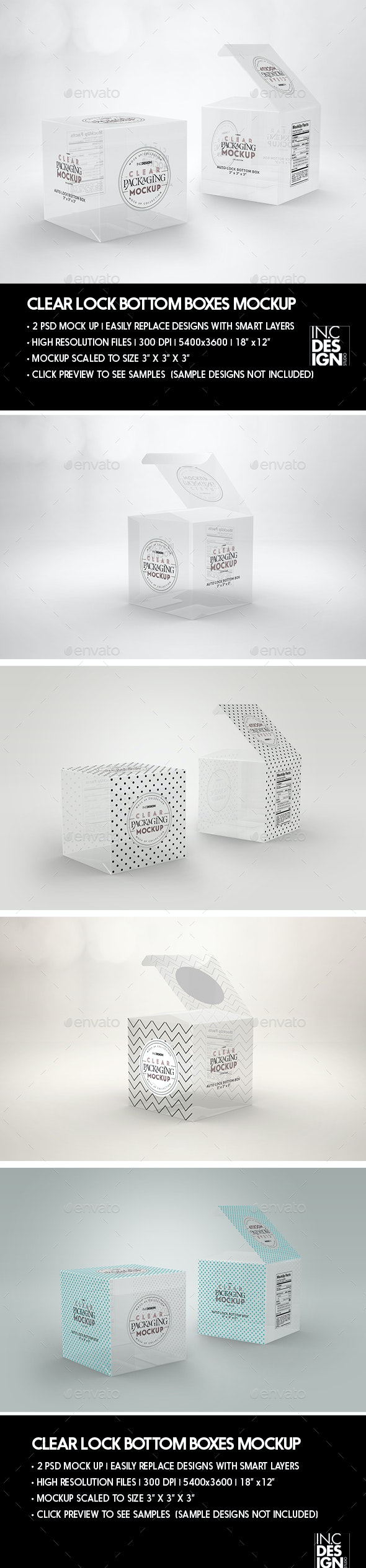 Clear Lock Bottom Boxes Packaging Mockup - Packaging Product Mock-Ups