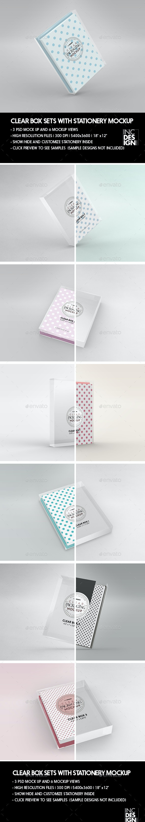 Clear Box with Stationery Set Packaging Mockup - Stationery Print