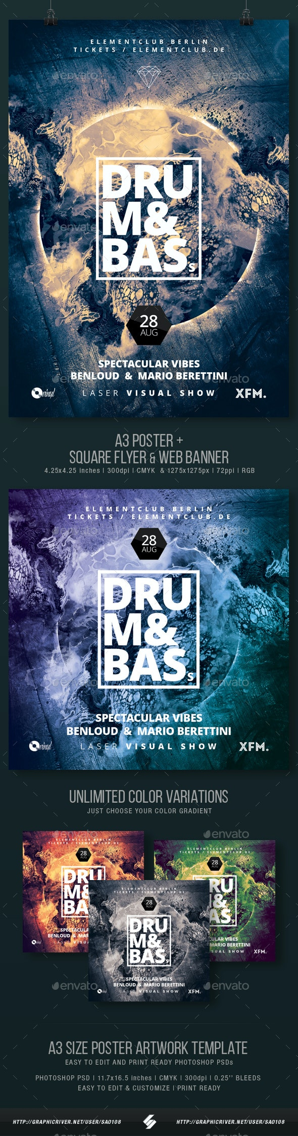 Drum and Bass vol.3 - Party Flyer / Poster Template A3 - Clubs & Parties Events