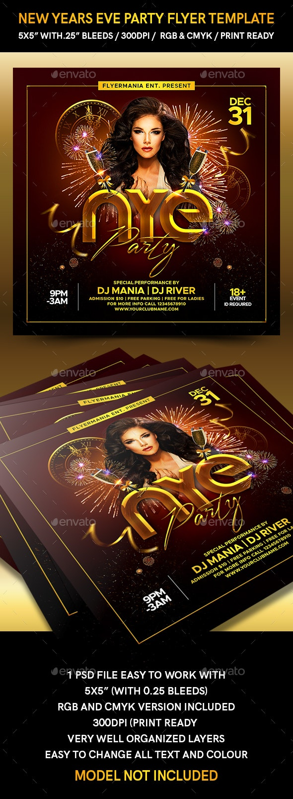 New Years Eve Party Flyer Template - Flyers Print Templates