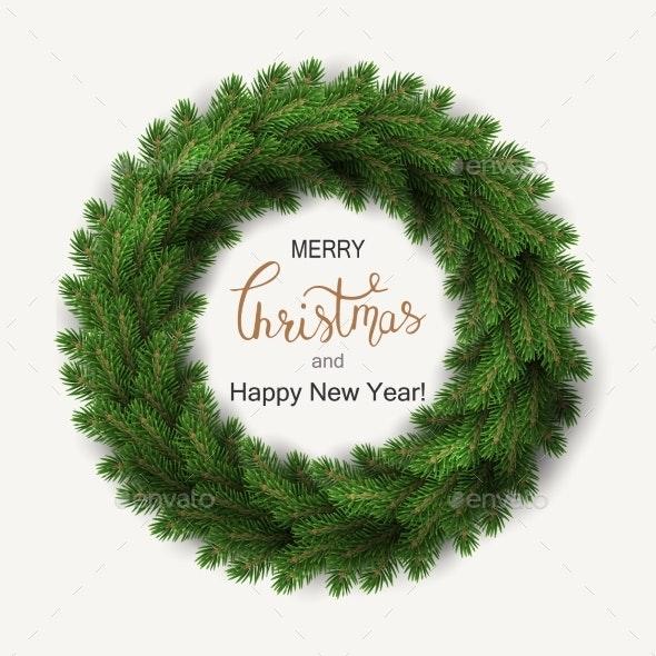 White Card with Christmas Wreath - Christmas Seasons/Holidays