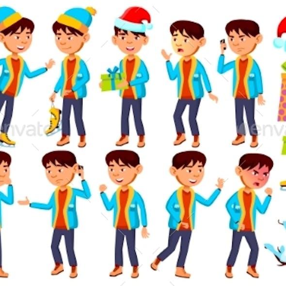 Asian Boy Schoolboy Kid Poses Set Vector
