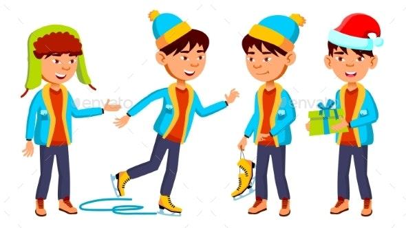 Asian Boy Schoolboy Set Vector. Primary School - People Characters