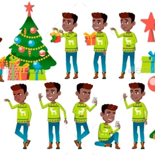Christmas Boy Poses Set Vector. Black. Afro