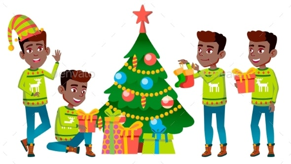 Christmas Boy Set Vector. Black. Afro American - People Characters