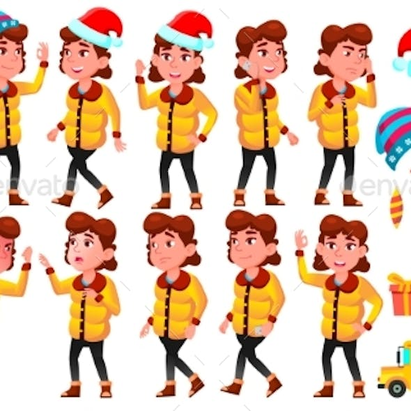 Christmas Girl Set Vector. Winter Holidays. School