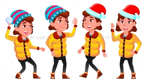 Christmas Girl Poses Set Vector. Winter. Neww Year - People Characters