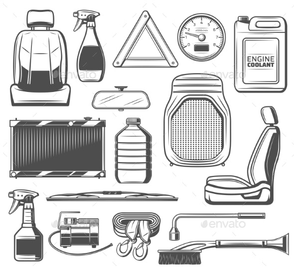 Car Spare Parts and Tools Maintenance Service - Man-made Objects Objects