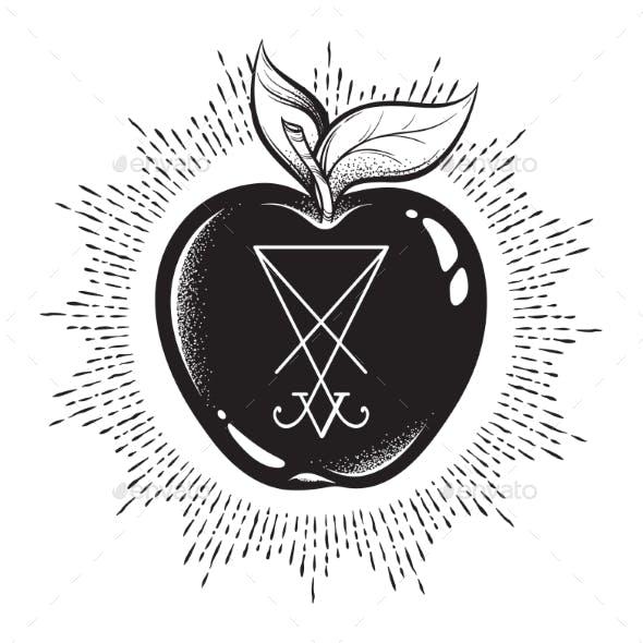 Forbidden Fruit Apple with Lucifer Sigil