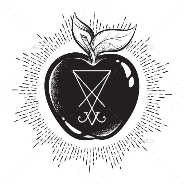 Forbidden Fruit Apple with Lucifer Sigil - Health/Medicine Conceptual