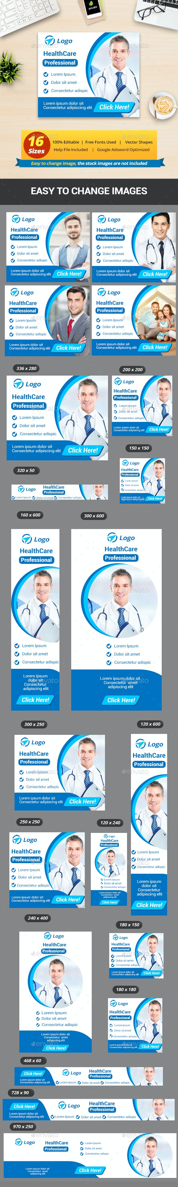 Health Care & Medical Doctor Business Banner Ads - Banners & Ads Web Elements