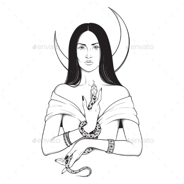 Witch with Serpent in Her Hands
