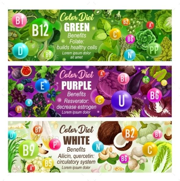 Healthcare Color Diet Banner with Natural Vitamins - Health/Medicine Conceptual