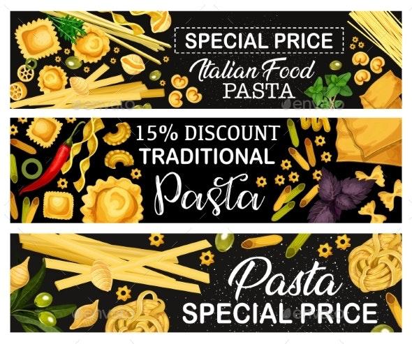 Italian Pasta Banners, Italian Cuisine - Food Objects