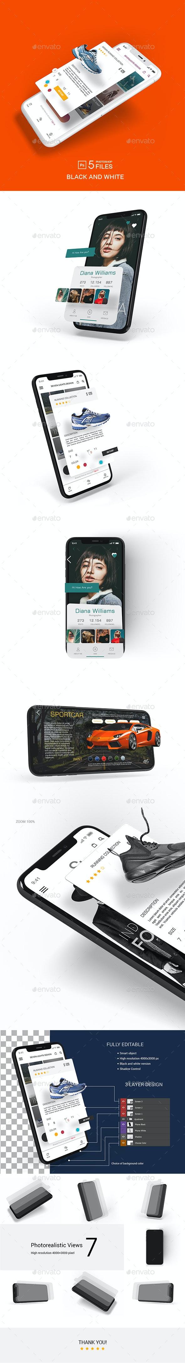 Phone X Multilayer Mockup - Mobile Displays