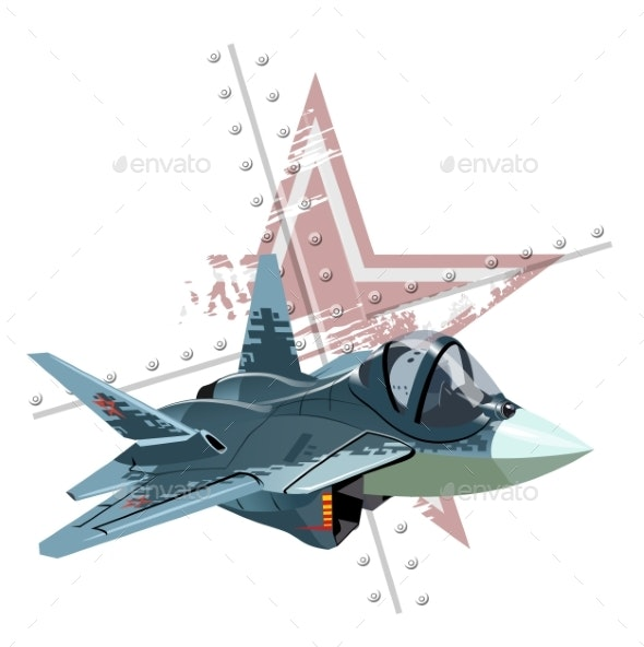 Cartoon Modern Military Fighter Plane on Grunge - Man-made Objects Objects