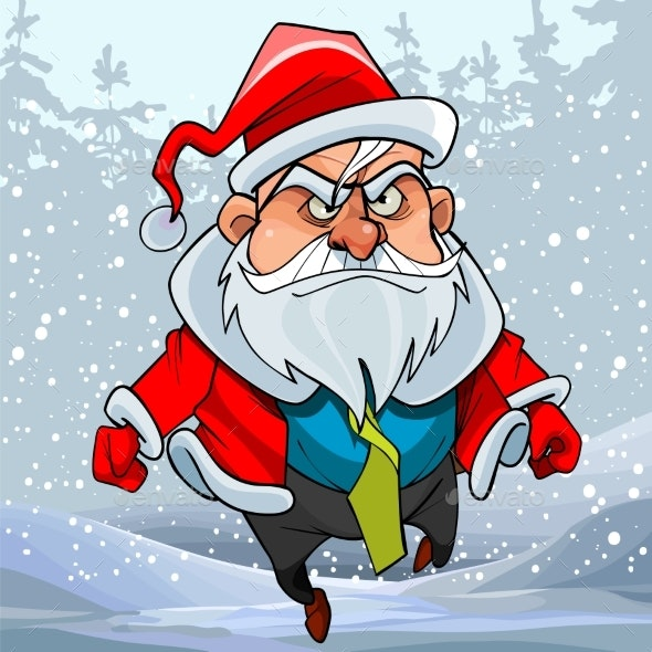 Cartoon Man in a Santa Claus Costume Running - People Characters