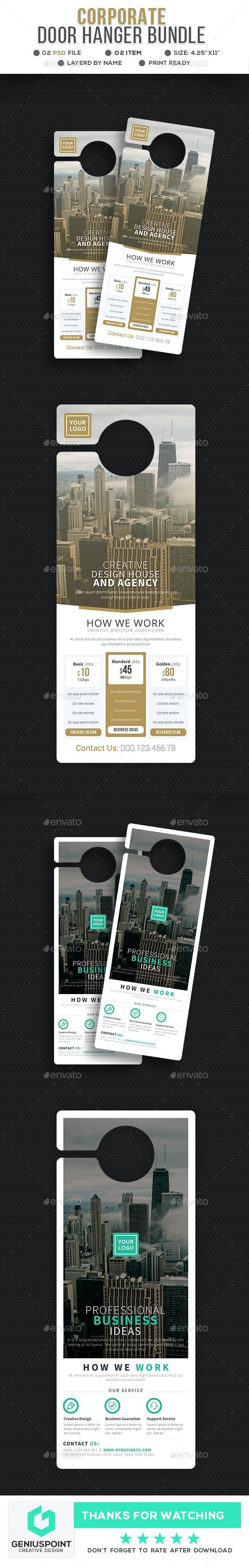 Corporate Door Hanger Bundle - Miscellaneous Print Templates