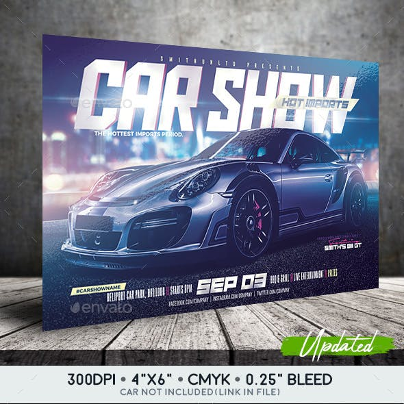 Car Show Flyer - Hot Imports - Horizontal