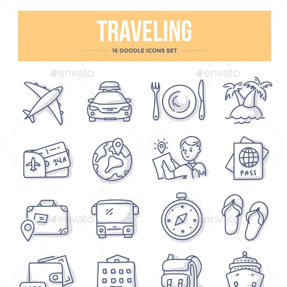 Traveling Doodle Icons