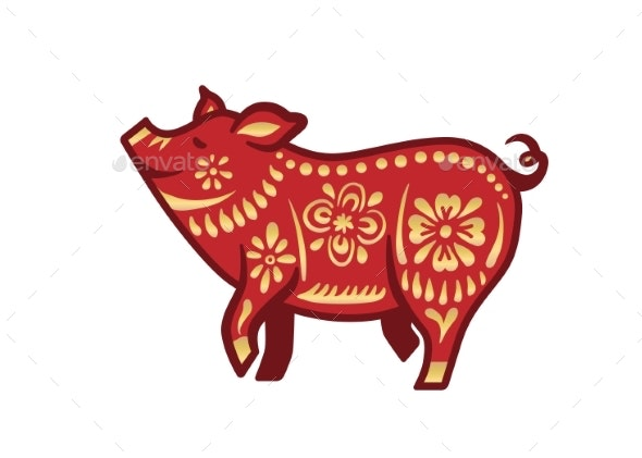 Pig for Happy Chinese New Year Celebration - Animals Characters
