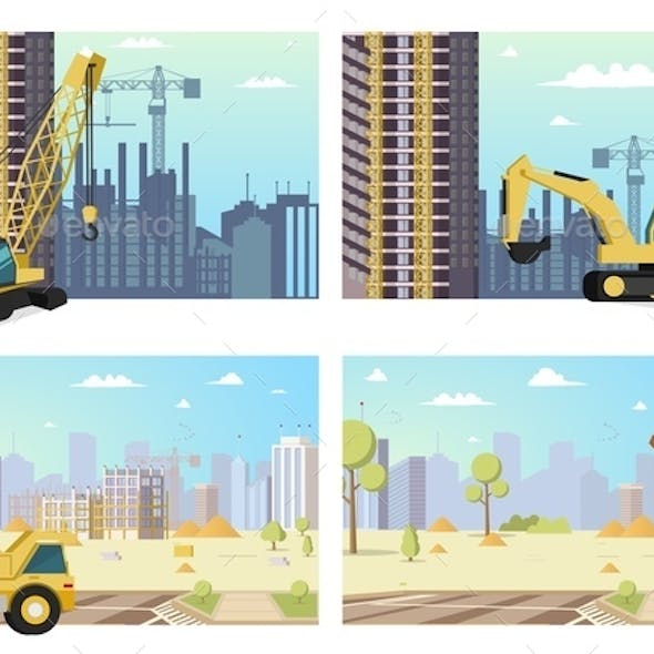 Concept Modern City Construction Buildings