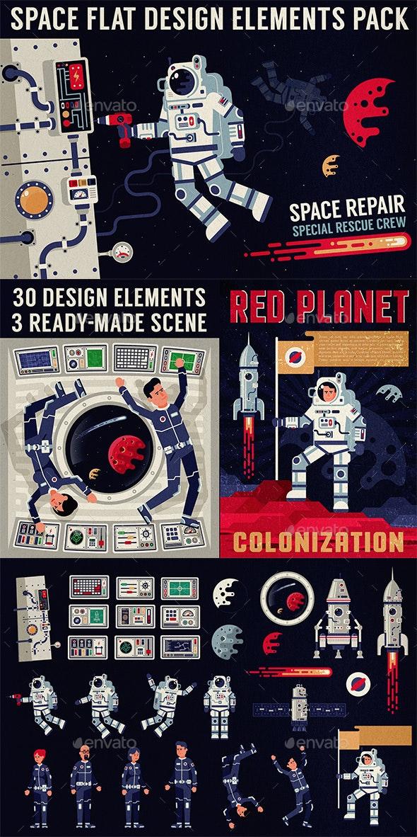 Space Design Elements Pack - Miscellaneous Vectors