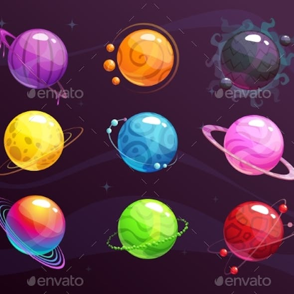 Cartoon Colorful Fantasy Planets Set on Space