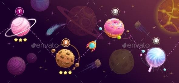 Food Planets Set - Miscellaneous Vectors