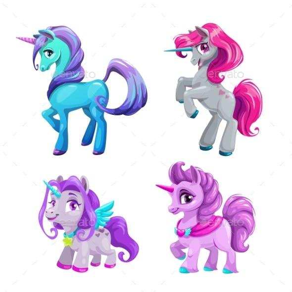 Cartoon Unicorn Icons Set