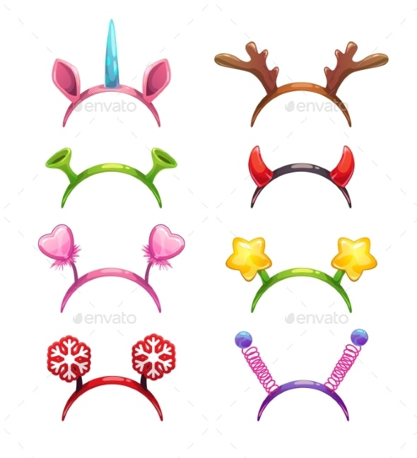 Cartoon Headbands with Horns and Ears - New Year Seasons/Holidays