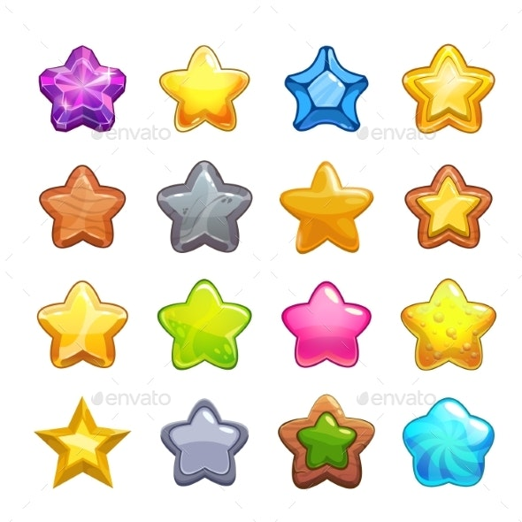 Cartoon Colorful Star Icons Set - Decorative Symbols Decorative