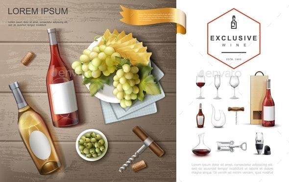 Realistic Premium Alcohol Composition - Food Objects