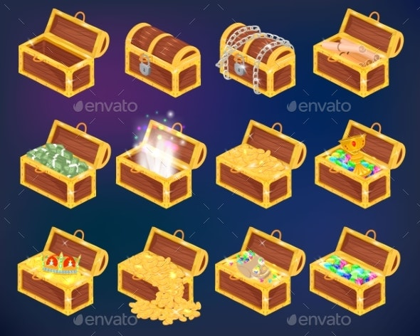 Chest Vector Treasure Box with Gold Money Wealth - Miscellaneous Vectors