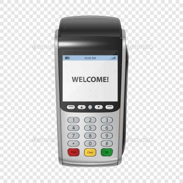 Vector Realistic Silver Payment Machine