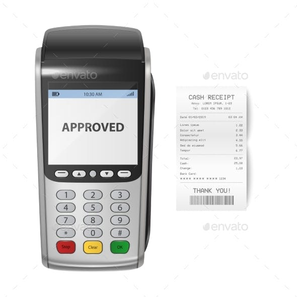 Vector Realistic Silver Payment Machine POS