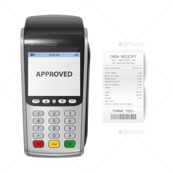 Vector Realistic Silver Payment Machine POS - Concepts Business