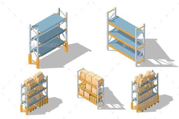 Set Storage Racks with Boxes and Pallets - Objects Vectors