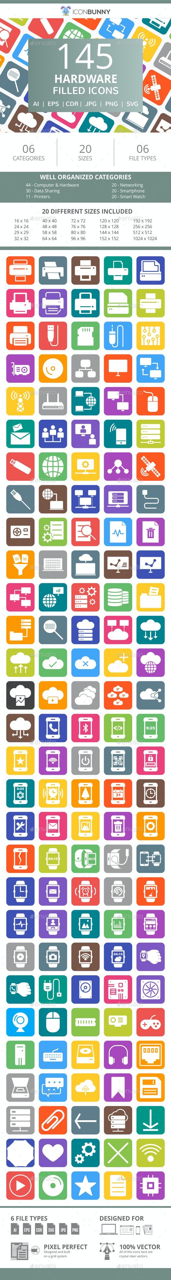 145 Hardware Filled Round Corner Icons - Icons