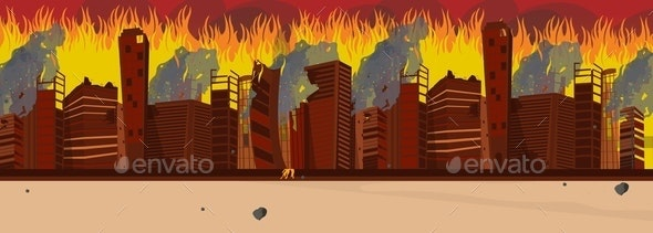 Vector Illustration Cartoon Burning City Buildings - Buildings Objects