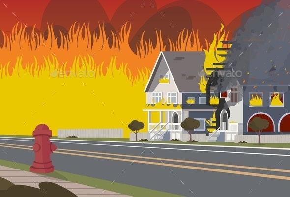 Vector Illustration of Cartoon Fire Extinguishing - Miscellaneous Vectors