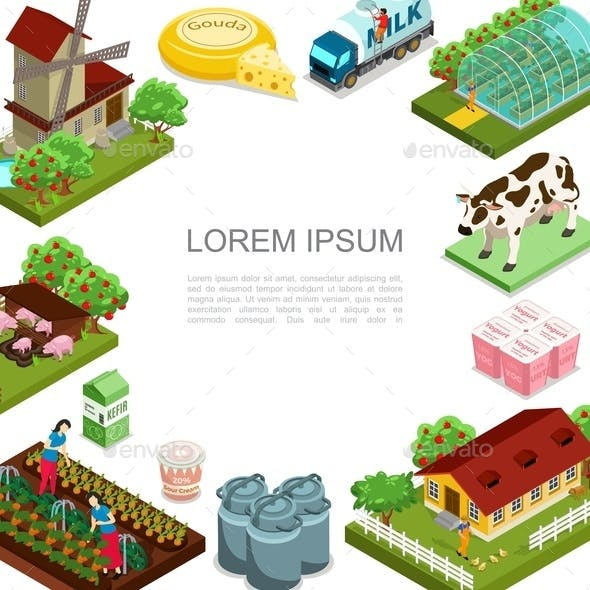 Isometric Agriculture and Farming Template