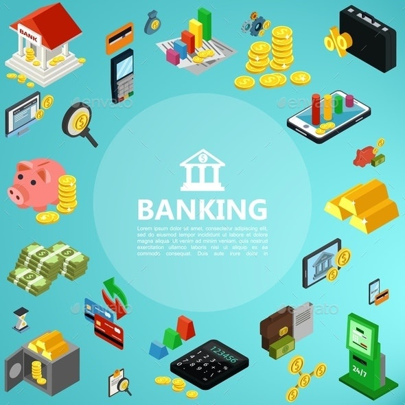 Isometric Banking Elements Concept - Business Conceptual