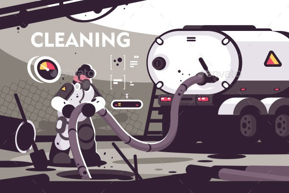 Sewer Cleaning Service Flat Poster - Industries Business
